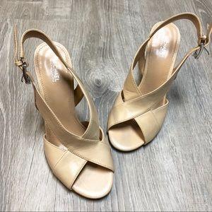 Michael Kors Shoes - Michael Kors Cream Leather Becky Sandal